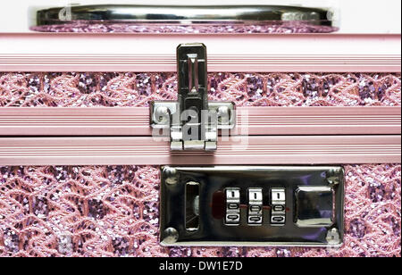 pink safe box with padlock - Stock Photo