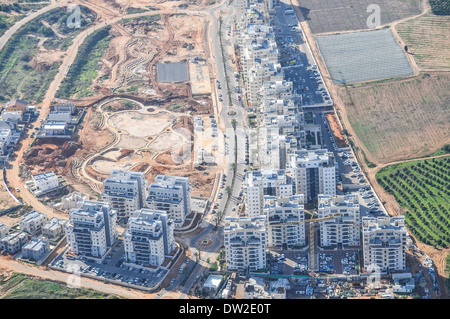 Aerial view of Sharon District, Israel from within a Cessna airplane - Stock Photo
