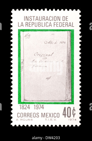 Postage stamp from Mexico depicting the Law of 1824 (sesquicentennial of the founding of the Federal Republic of - Stock Photo