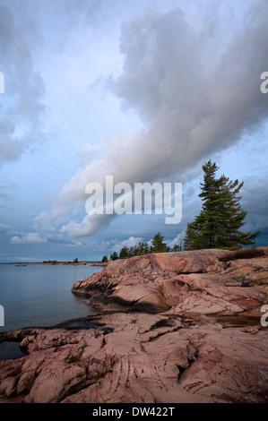 Incredible cloud formations in Killarney Provincial Park, Ontario, Canada. - Stock Photo