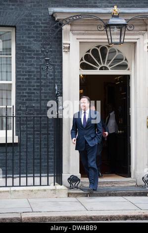 London, UK. 27th February 2014. 27th February, 2014. Downing Street, London, UK. British Prime Minister David Cameron - Stock Photo