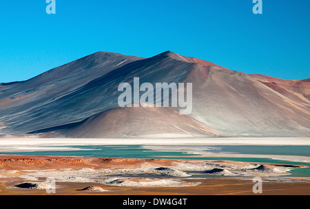 The Laguna Tuyajto salt lake near San Pedro de Atacama, in the altiplano of the Antofagasta Region of Chile, South - Stock Photo