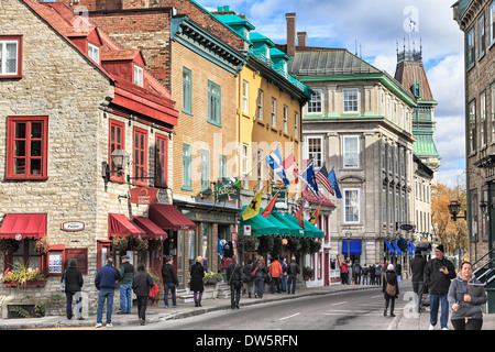 Rue Saint-Louis in the Upper Town area of Old Quebec City, Quebec, Canada - Stock Photo