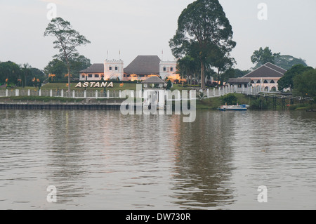 Astana palace in Kuching,on the northern bank of Sarawak River, opposite Kuching Waterfront, official residence - Stock Photo