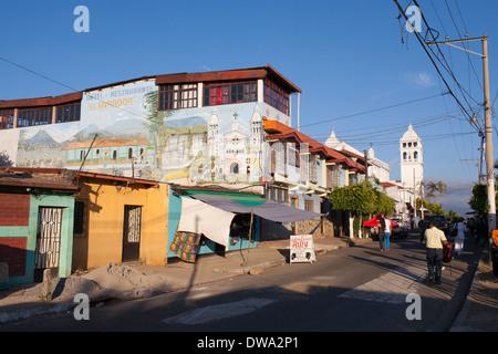 A hotel above the market in the center of Juayua, a small town on the Ruta de Las Flores, a mountainous region of - Stock Photo