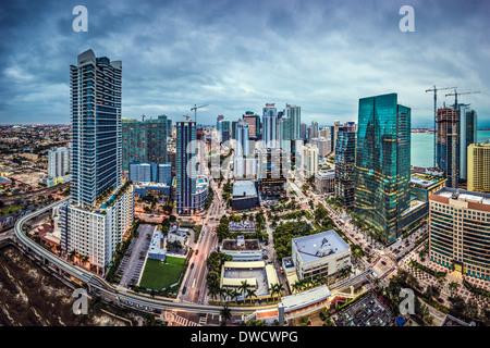 Miami, Florida, USA downtown aerial cityscape. - Stock Photo