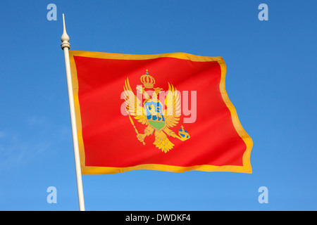 The national flag of Montenegro - Stock Photo