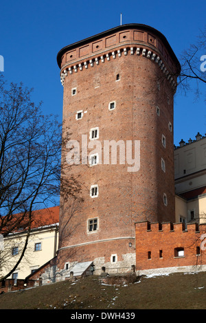 Senatorska Tower at the Royal Castle on Wawel Hill in the city of Krakow in Poland. - Stock Photo