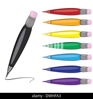 Colorfull pens.  illustrtion on white. For design. - Stock Photo