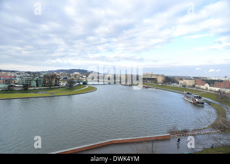 view of Vistula River from the royal castle. - Stock Photo