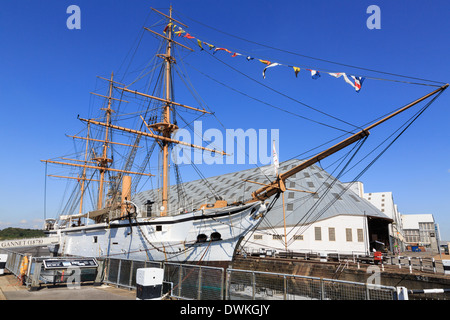 19th century sailing sloop HMS Gannet at maritime heritage museum in Historic Dockyard at Chatham, Kent, England, - Stock Photo