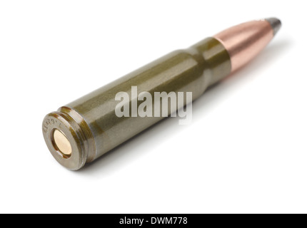 Old intermediate rifle cartridge isolated on white - Stock Photo