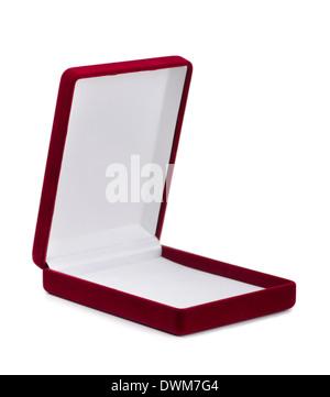 Red empty velvet jewelry box isolated on white - Stock Photo
