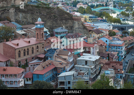 View of Old town and Narikala Fortress, Tbilisi, Georgia, Caucasus, Central Asia, Asia - Stock Photo