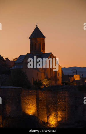 View of Narikala Fortress and St. Nicholas church, Tbilisi, Georgia, Caucasus, Central Asia, Asia - Stock Photo