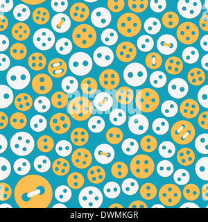 Yellow and white buttons in various designs and sizes on a blue colored background. - Stock Photo