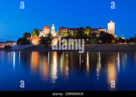 Wawel Hill Castle and Cathedral, Vistula River, UNESCO World Heritage Site, Krakow, Malopolska, Poland, Europe - Stock Photo