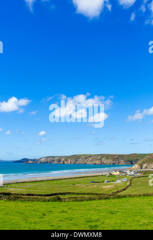 View over the beach at Newgale on the Pembrokeshire coast, West Wales, UK - Stock Photo