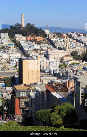 Lombard Street, San Francisco, California, United States of America, North America - Stock Photo