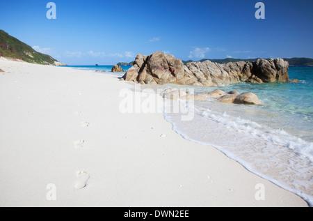 Footprints on Nishibama Beach, Aka Island, Kerama Islands, Okinawa, Japan,Asia - Stock Photo