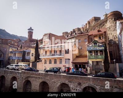 Architecture of the Old Town in Tbilisi, Georgia, close to the sulfur baths. - Stock Photo