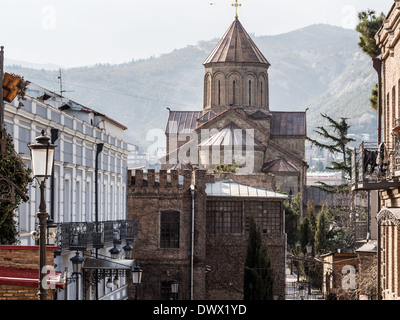 Metekhi church in the old town of Tbilisi, the capital of Georgia. - Stock Photo