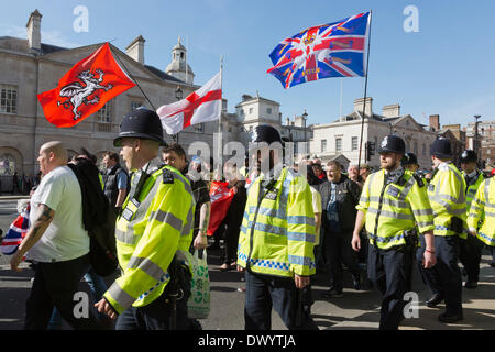 London, UK. 15 March 2014. Members of the right-wing English Volunteer Force (EVF) marched from Trafalgar Square - Stock Photo
