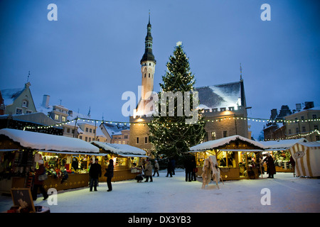 Christmas Market at the Town Hall Square in Tallinn, the capital of Estonia. - Stock Photo