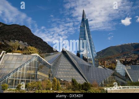 Modern glass pyramid building in Escaldes-Engordany, Andorra. - Stock Photo