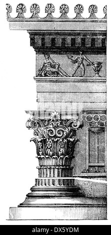 Corinthian order, from Choragic Monument of Lysicrates, Athens, illustration from book dated 1878 - Stock Photo