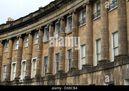 The Royal Crescent is a street of 30 terraced houses laid out in a sweeping crescent in the city of Bath, Somerset - Stock Photo