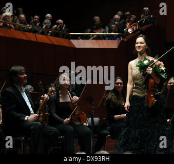 Frankfurt, Germany. 20th Mar, 2014. Two-time Grammy-winning American violinist Hilary Hahn performs in cooperation - Stock Photo