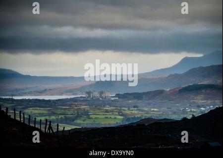 The decommissioned Trawsfynydd nuclear power station seen from Blaenau Ffestiniog, Snowdonia, Gwynedd, North Wales - Stock Photo