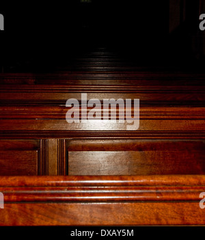 wooden church pews - Stock Photo