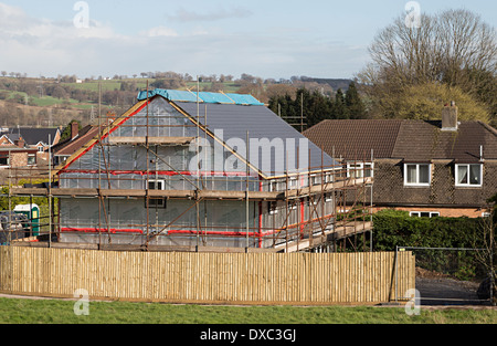 New build house under construction in village, Llanfoist, Abergavenny, Wales, UK - Stock Photo