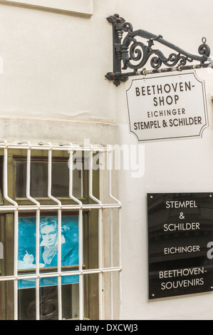 beethoven shop selling rubber stamps, signs and other beethoven souvenirs, vienna, austria - Stock Photo