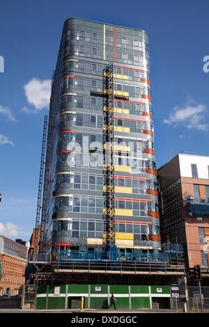 Manchester 7th March, 2014.  Sarah Point Nuovo being built on Gt Ancoats Street, by client Sir Robert McAlpine comprising - Stock Photo