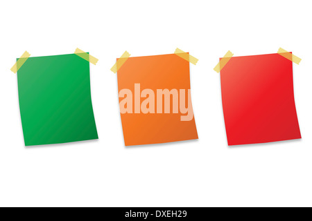 three post it notes on white background vector illustration - Stock Photo