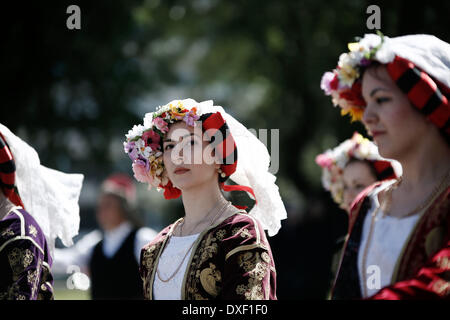 Thessaloniki, Greece. 25th Mar, 2014. A high school students in traditional Greek costume march during a parade - Stock Photo