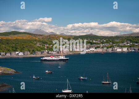 Oban bay and town from Kerrera with the MV  Isle of Mull in view, Argyll - Stock Photo