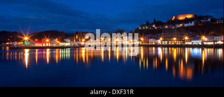 panoramic view across oban bay towards the town and tower at night,Argyllshire,scotland - Stock Photo