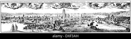 Historical cityscape, Frankfurt Main, Germany, 18th Century, - Stock Photo