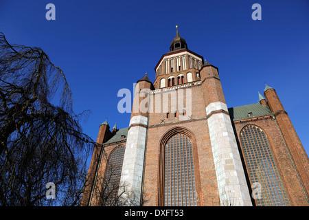 St. Mary's church, Neuer Markt, Hanseatic City of Stralsund, Mecklenburg-Vorpommern, Germany / Marienkirche - Stock Photo