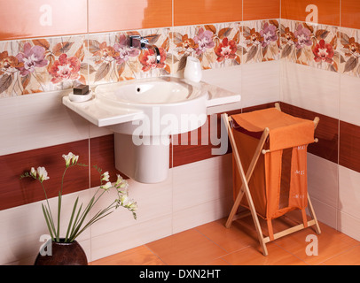 Interior of modern bathroom with sink - Stock Photo