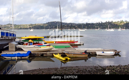colorful kayaks and pleasure moored at yacht club in Sausalito - Stock Photo