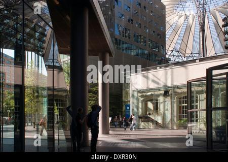 inside Sony Center at Potsdamer Platz in Berlin. Potsdamer Platz (German: [ˈpɔtsdamɐ plats] ( listen), literally - Stock Photo
