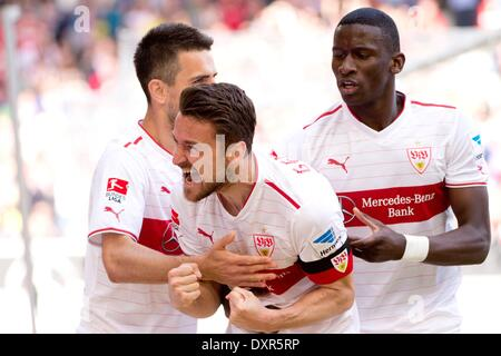 Stuttgart, Germany. 29th Mar, 2014. Stuttgart's Christian Gentner (C) celebrates his 1-0 goal with teammates Vedad - Stock Photo