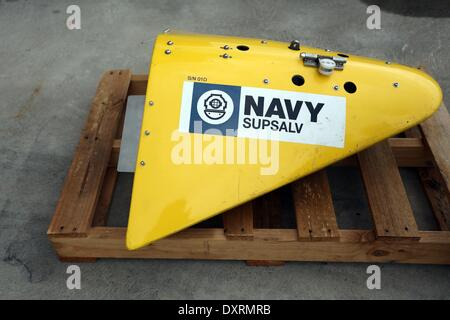 Perth, Australia . 30th Mar, 2014. A sensor for the towed pinger locator provided by U.S. Navy is seen before being - Stock Photo