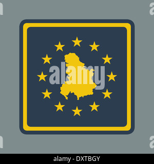 Serbia and Montenegro European flag button in flat responsive web design style isolated with clipping path. - Stock Photo