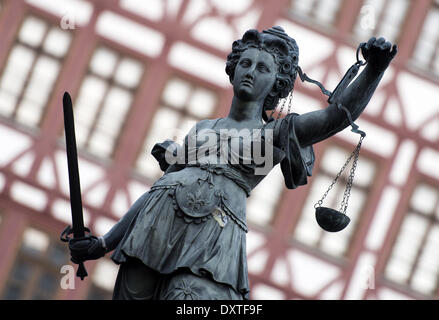 Frankfurt, Germany. 20th Mar, 2014. A statue of Lady Justice, the Roman goddess of Justice, is seen in Frankfurt, - Stock Photo